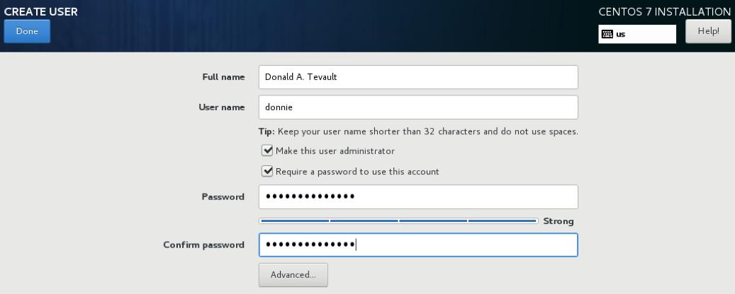 CentOS 7 create user screen